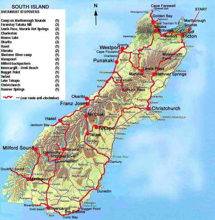 South Island Map outlining our route. Hearsay has it, that if the New