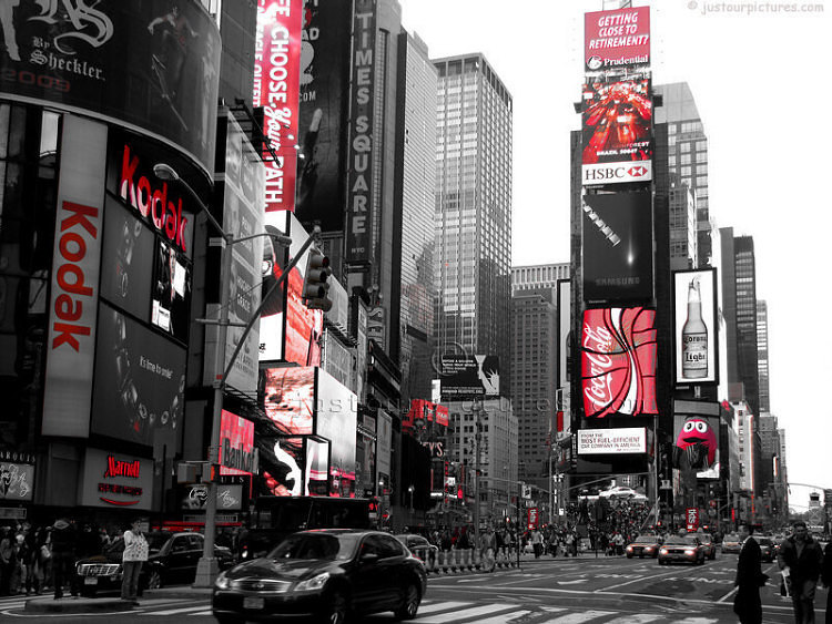 Times square in blackwhite and red file 2031 photographer susan